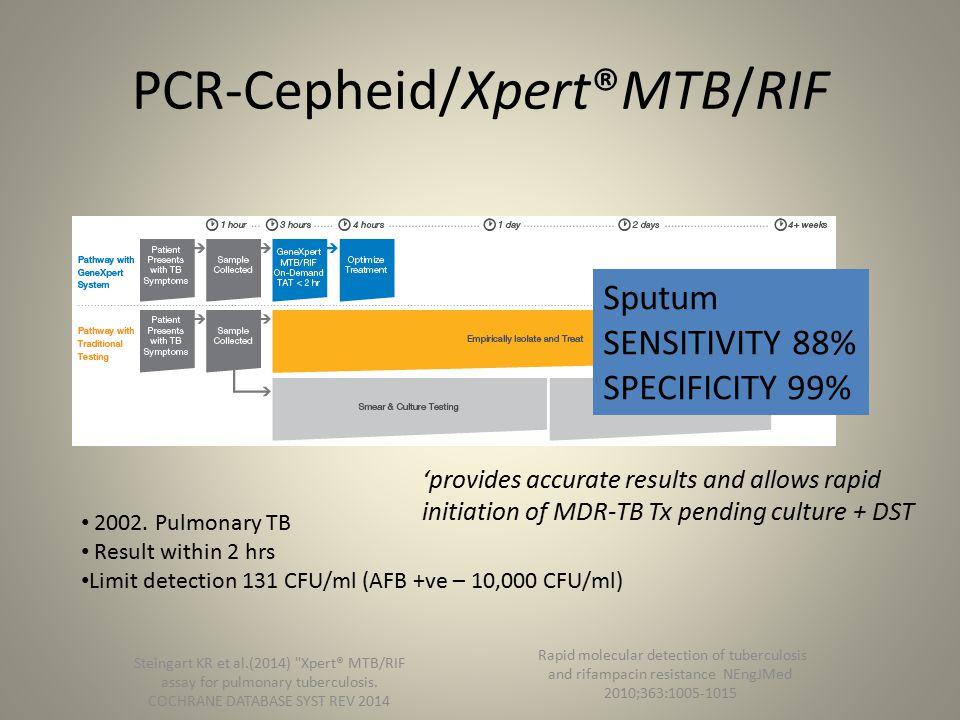 PCR-Cepheid/Xpert®MTB/RIF Steingart KR et al.(2014) Xpert® MTB/RIF assay for pulmonary tuberculosis.