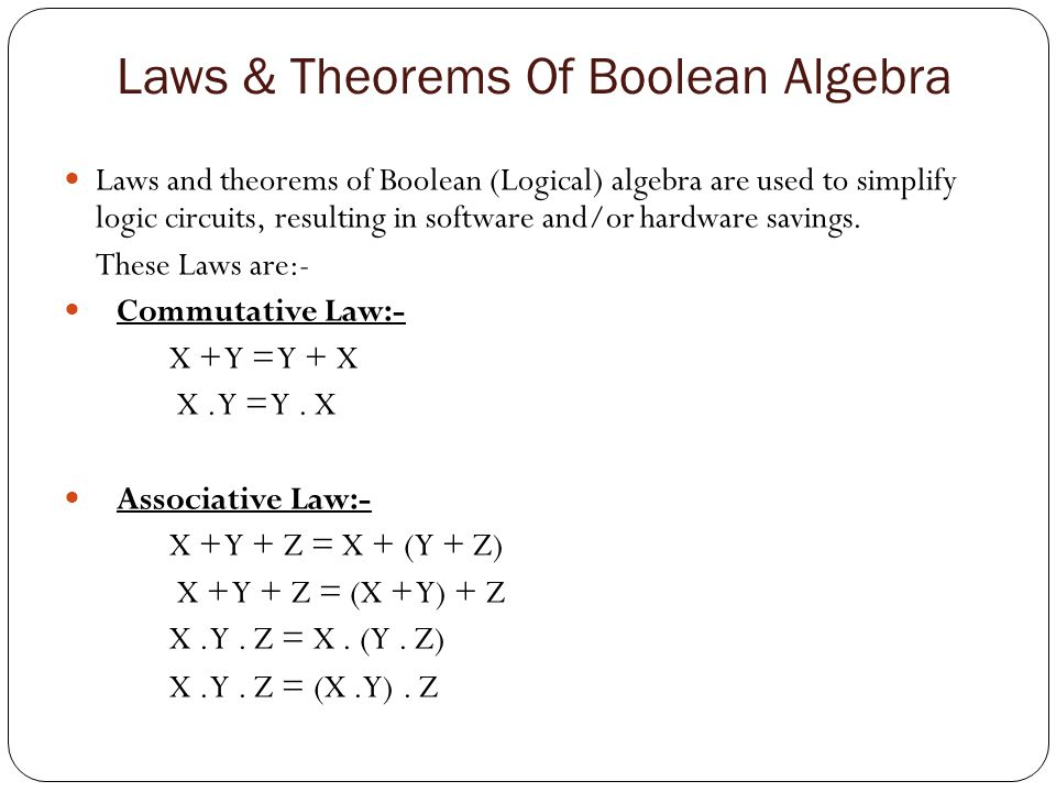 Laws & Theorems Of Boolean Algebra (Con.) Distributive Law:- X.