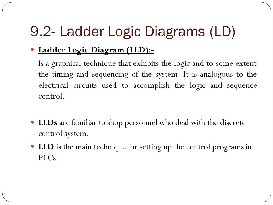 9.2- Ladder Logic Diagrams (LD) (Con.) As the name implies, it looks like a ladder.