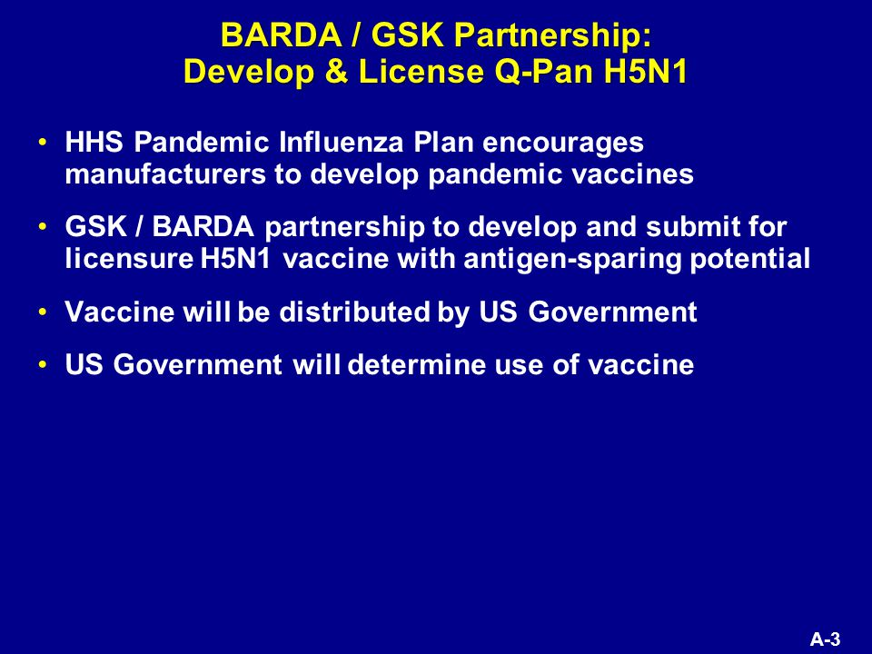 A-3 BARDA / GSK Partnership: Develop & License Q-Pan H5N1 HHS Pandemic Influenza Plan encourages manufacturers to develop pandemic vaccines GSK / BARDA partnership to develop and submit for licensure H5N1 vaccine with antigen-sparing potential Vaccine will be distributed by US Government US Government will determine use of vaccine