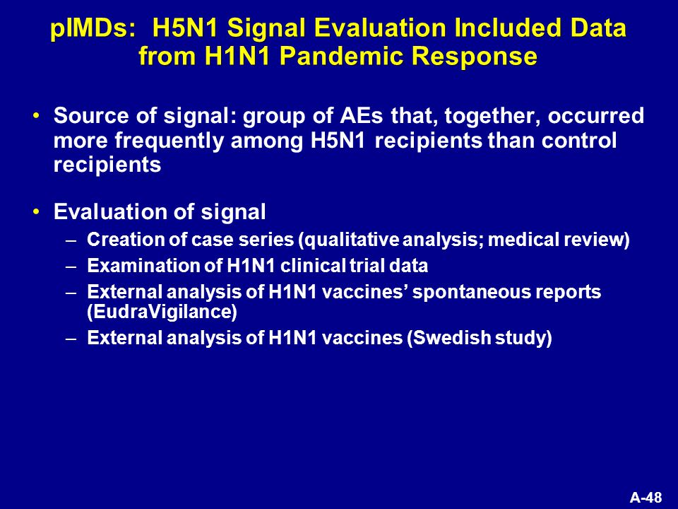 A-48 pIMDs: H5N1 Signal Evaluation Included Data from H1N1 Pandemic Response Source of signal: group of AEs that, together, occurred more frequently among H5N1 recipients than control recipients Evaluation of signal –Creation of case series (qualitative analysis; medical review) –Examination of H1N1 clinical trial data –External analysis of H1N1 vaccines' spontaneous reports (EudraVigilance) –External analysis of H1N1 vaccines (Swedish study)