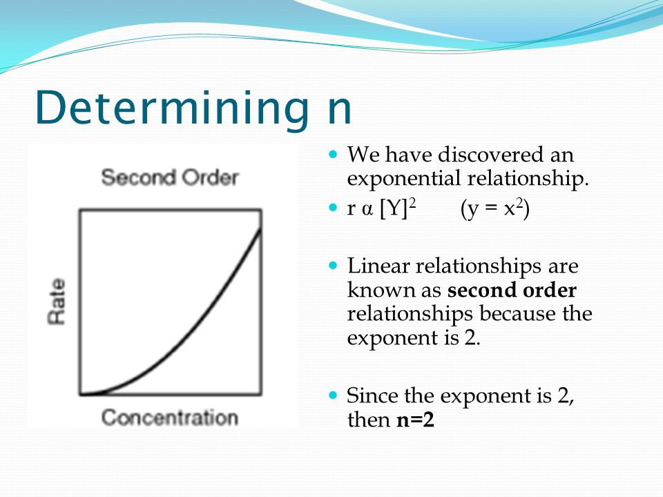 Determining n We have discovered an exponential relationship.