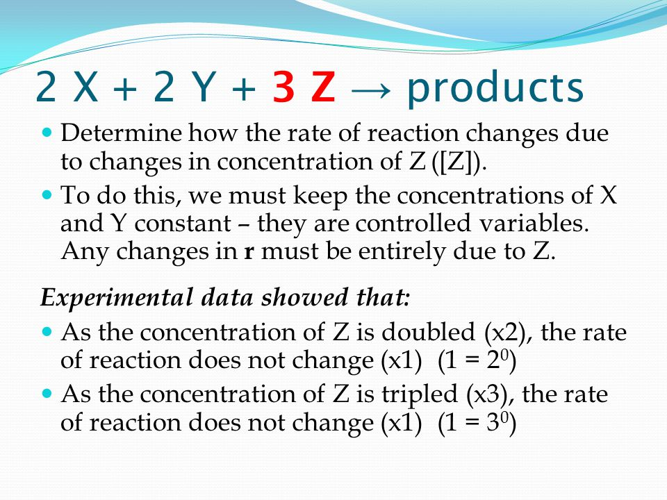 2 X + 2 Y + 3 Z → products Determine how the rate of reaction changes due to changes in concentration of Z ([Z]).