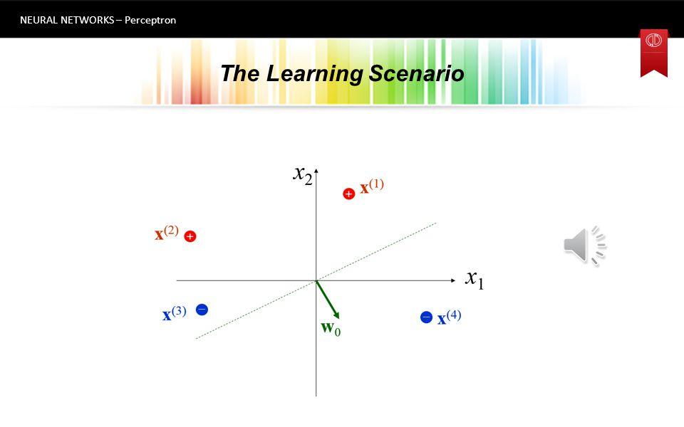 The Learning Scenario NEURAL NETWORKS – Perceptron