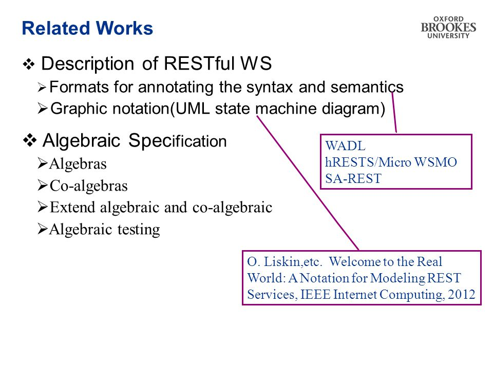 Related Works  Description of RESTful WS  Formats for annotating the syntax and semantics  Graphic notation(UML state machine diagram)  Algebraic Spec ification  Algebras  Co-algebras  Extend algebraic and co-algebraic  Algebraic testing WADL hRESTS/Micro WSMO SA-REST O.