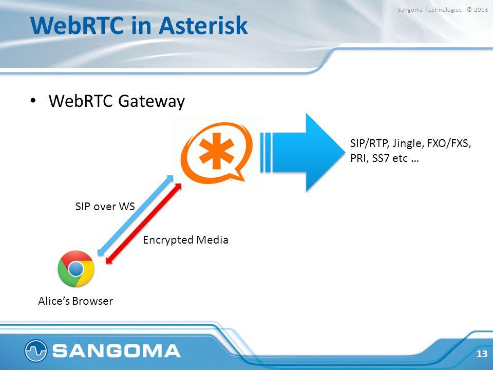 WebRTC in Asterisk WebRTC Gateway 13 Sangoma Technologies - © 2013 Alice's Browser SIP/RTP, Jingle, FXO/FXS, PRI, SS7 etc … Encrypted Media SIP over W