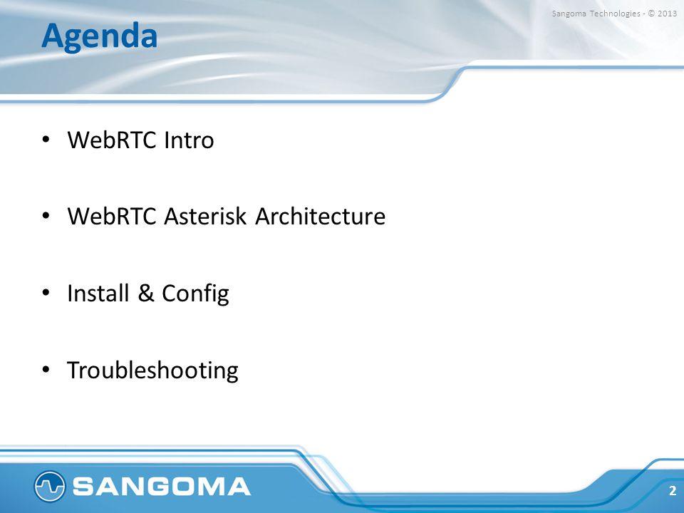Agenda WebRTC Intro WebRTC Asterisk Architecture Install & Config Troubleshooting 2 Sangoma Technologies - © 2013