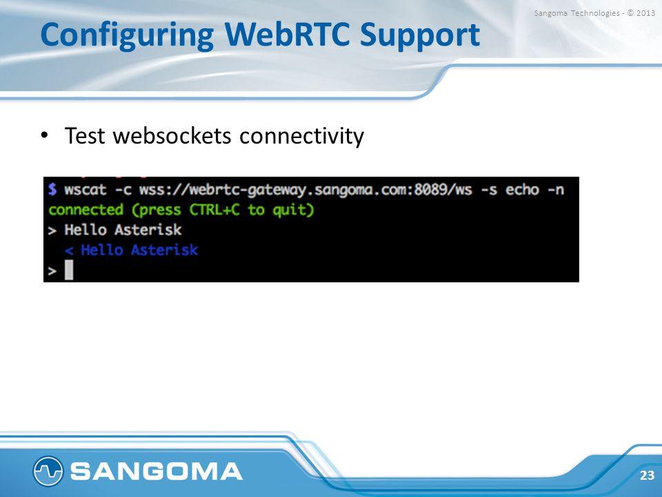Configuring WebRTC Support Test websockets connectivity 23 Sangoma Technologies - © 2013