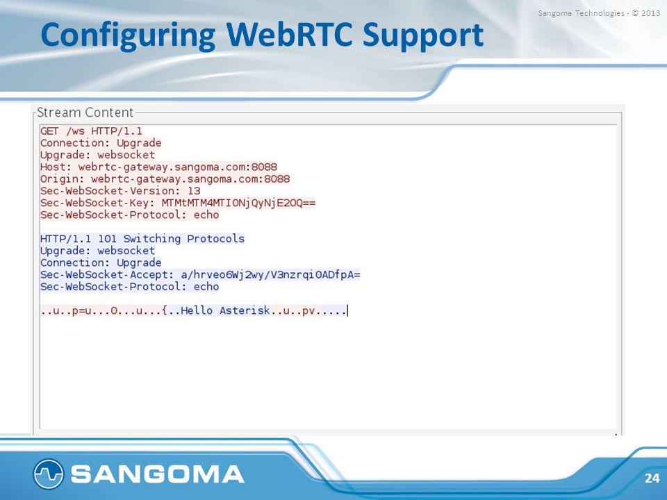 Configuring WebRTC Support 24 Sangoma Technologies - © 2013
