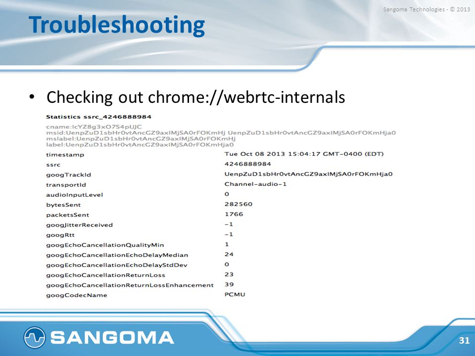 Troubleshooting Checking out chrome://webrtc-internals 31 Sangoma Technologies - © 2013
