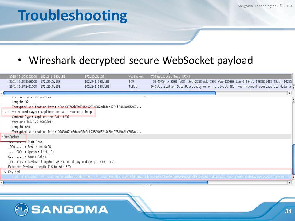 Troubleshooting Wireshark decrypted secure WebSocket payload 34 Sangoma Technologies - © 2013