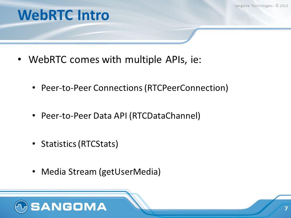 WebRTC Intro WebRTC comes with multiple APIs, ie: Peer-to-Peer Connections (RTCPeerConnection) Peer-to-Peer Data API (RTCDataChannel) Statistics (RTCS
