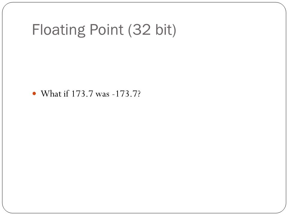 Floating Point (32 bit) What if 173.7 was -173.7