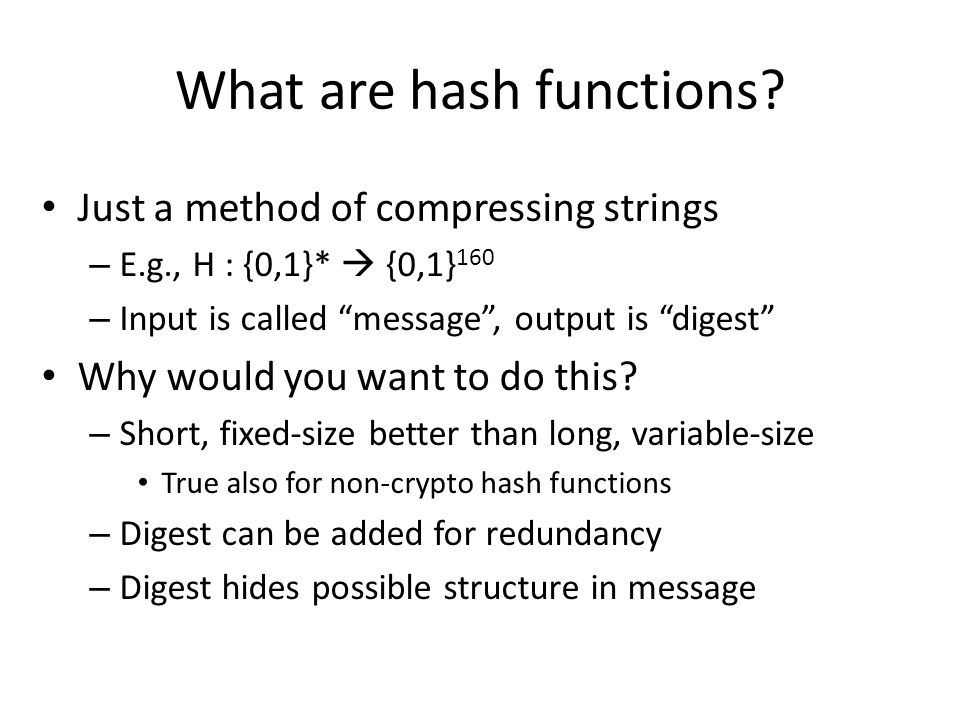 What are hash functions.