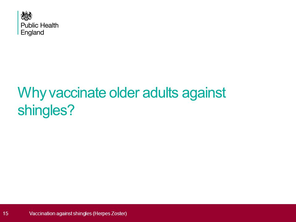 Why vaccinate older adults against shingles 15Vaccination against shingles (Herpes Zoster)
