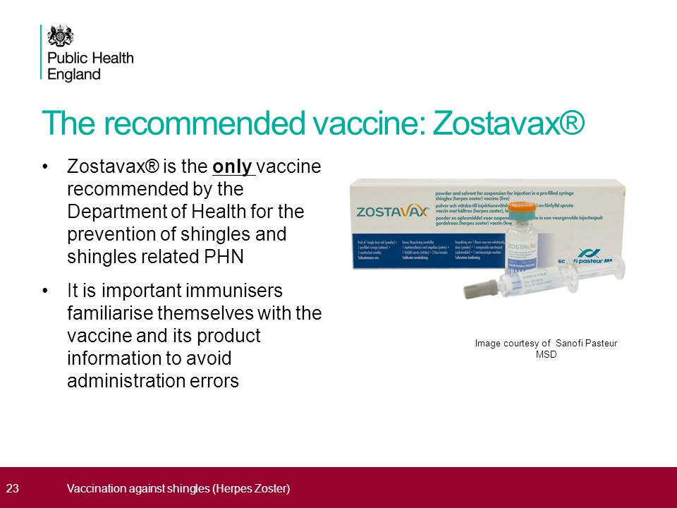 The recommended vaccine: Zostavax® Zostavax® is the only vaccine recommended by the Department of Health for the prevention of shingles and shingles related PHN It is important immunisers familiarise themselves with the vaccine and its product information to avoid administration errors 23Vaccination against shingles (Herpes Zoster) Image courtesy of Sanofi Pasteur MSD