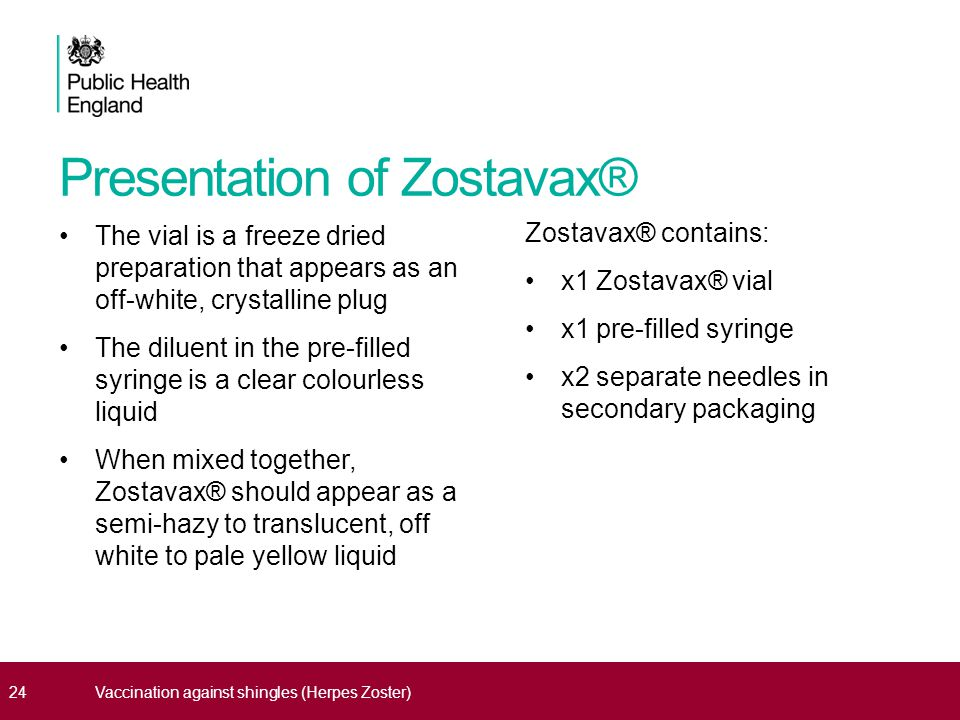 Presentation of Zostavax® The vial is a freeze dried preparation that appears as an off-white, crystalline plug The diluent in the pre-filled syringe is a clear colourless liquid When mixed together, Zostavax® should appear as a semi-hazy to translucent, off white to pale yellow liquid Zostavax® contains: x1 Zostavax® vial x1 pre-filled syringe x2 separate needles in secondary packaging 24Vaccination against shingles (Herpes Zoster)