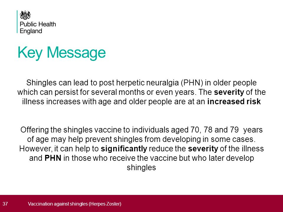 Key Message Shingles can lead to post herpetic neuralgia (PHN) in older people which can persist for several months or even years.