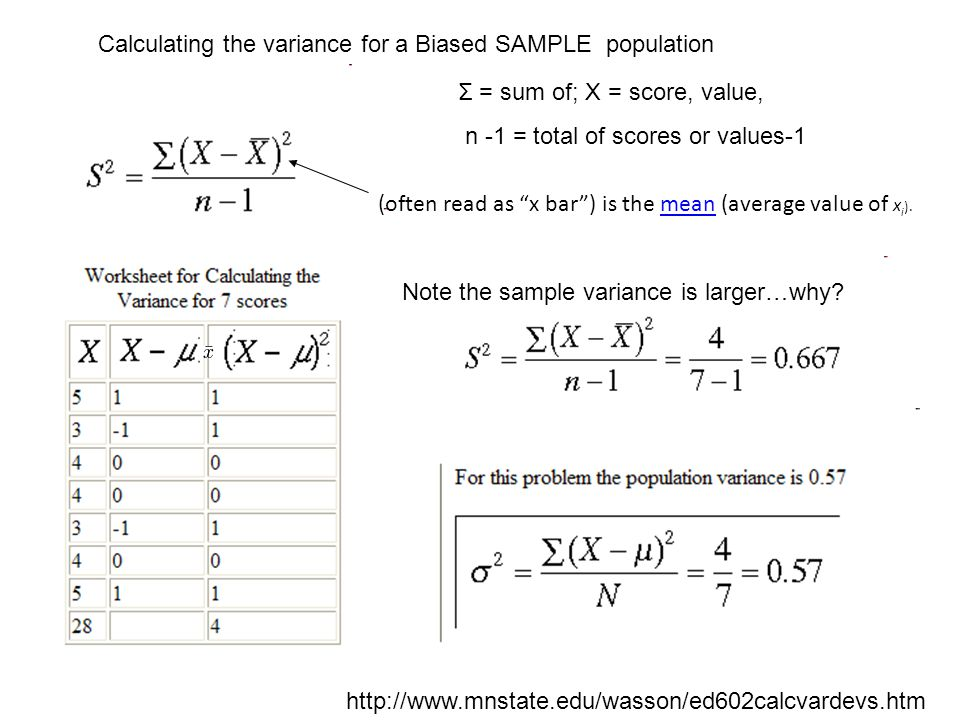 http://www.mnstate.edu/wasson/ed602calcvardevs.htm Calculating the variance for a Biased SAMPLE population Σ = sum of; X = score, value, n -1 = total of scores or values-1 (often read as x bar ) is the mean (average value of x i ).mean Note the sample variance is larger…why