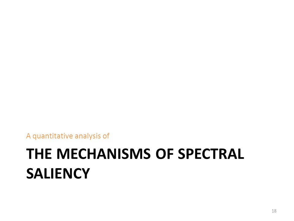 THE MECHANISMS OF SPECTRAL SALIENCY A quantitative analysis of 18