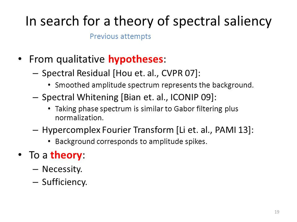 In search for a theory of spectral saliency From qualitative hypotheses: – Spectral Residual [Hou et.