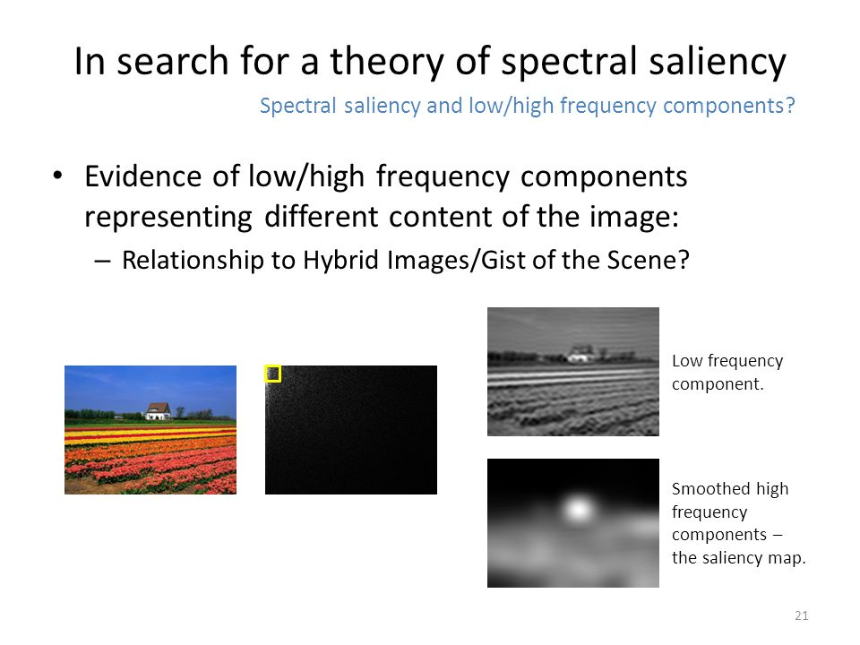 Evidence of low/high frequency components representing different content of the image: – Relationship to Hybrid Images/Gist of the Scene.