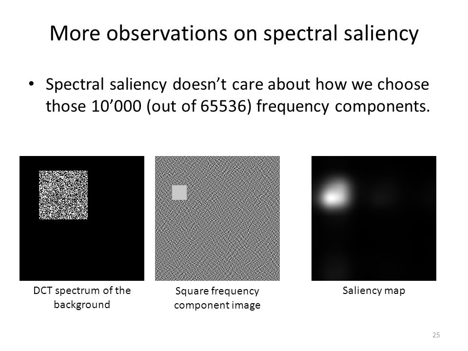 More observations on spectral saliency Spectral saliency doesn't care about how we choose those 10'000 (out of 65536) frequency components.