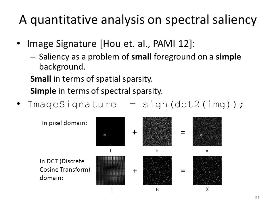 A quantitative analysis on spectral saliency Image Signature [Hou et.