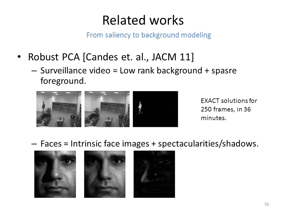 Related works Robust PCA [Candes et.