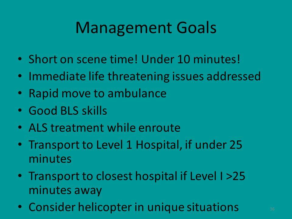 36 Management Goals Short on scene time. Under 10 minutes.