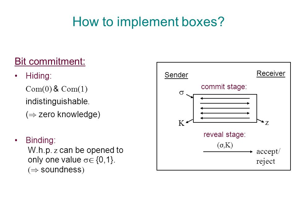 How to implement boxes. Bit commitment: Hiding: Com(  ) & Com(  ) indistinguishable.