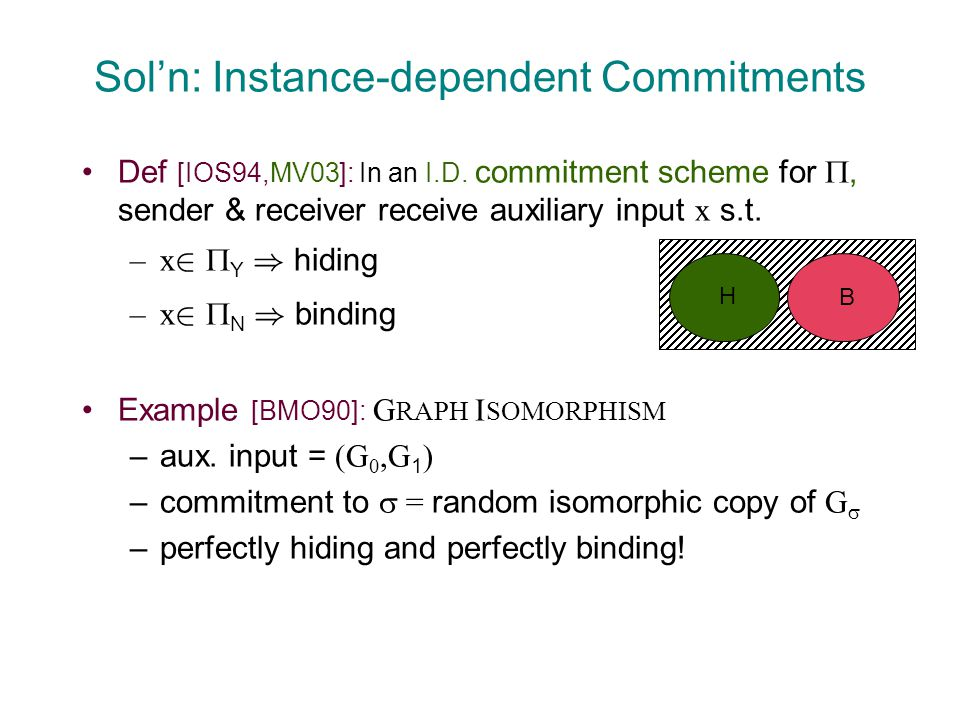 Sol'n: Instance-dependent Commitments Def [IOS94,MV03]: In an I.D.
