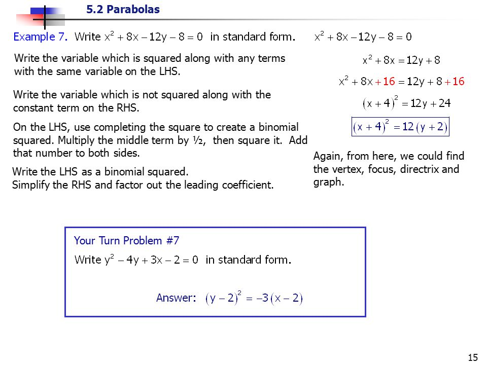 5.2 Parabolas 15 Write the variable which is squared along with any terms with the same variable on the LHS. Write the variable which is not squared a