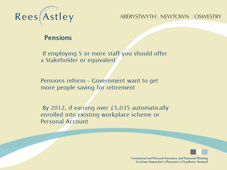 Default Contribution 8% of earnings Between £5,035 and £33,500 4% by employer 3% by employee 1% Tax Pensions Pensions are not going to go away Eg.