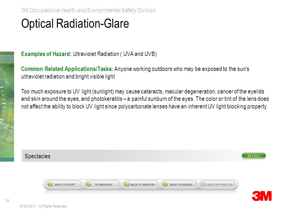 19 3M Occupational Health and Environmental Safety Division © 3M 2011. All Rights Reserved. Optical Radiation-Glare Examples of Hazard: Ultraviolet Ra