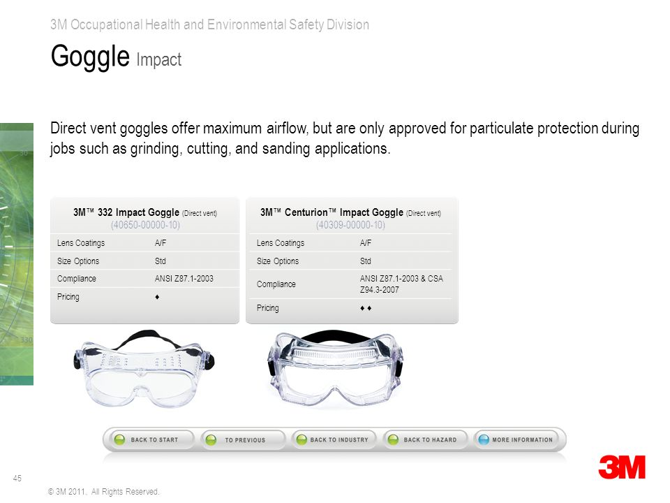 45 3M Occupational Health and Environmental Safety Division © 3M 2011. All Rights Reserved. Goggle Impact Direct vent goggles offer maximum airflow, b