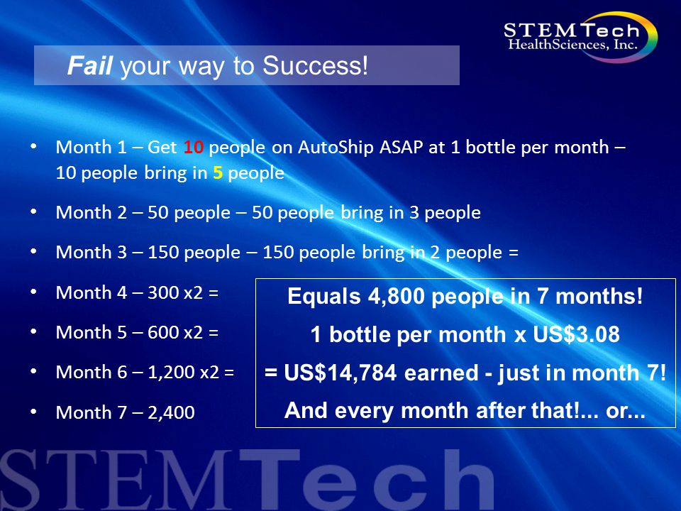 Fail your way to Success! Month 1 – Get 10 people on AutoShip ASAP at 1 bottle per month – 10 people bring in 5 people Month 2 – 50 people – 50 people