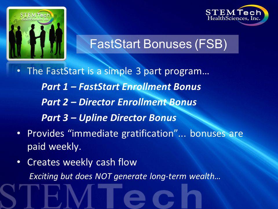 The FastStart is a simple 3 part program… Part 1 – FastStart Enrollment Bonus Part 2 – Director Enrollment Bonus Part 3 – Upline Director Bonus Provides immediate gratification ...