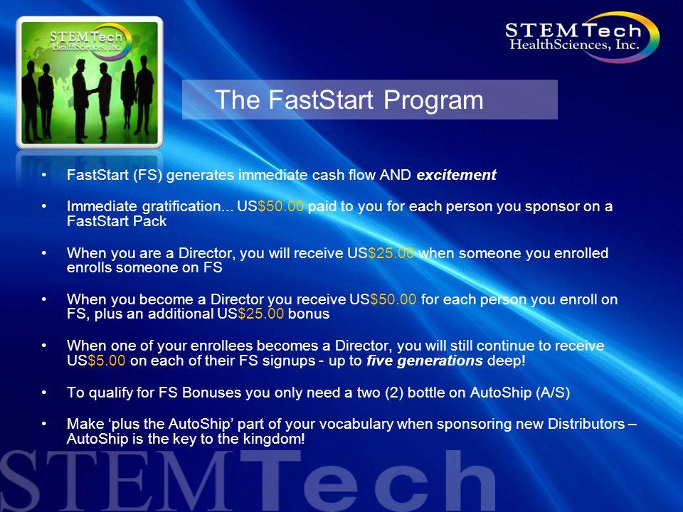 The FastStart Program FastStart (FS) generates immediate cash flow AND excitement Immediate gratification...
