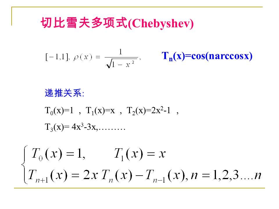 T n (x)=cos(narccosx) 切比雪夫多项式 (Chebyshev) 递推关系 : T 0 (x)=1, T 1 (x)=x, T 2 (x)=2x 2 -1, T 3 (x)= 4x 3 -3x,………