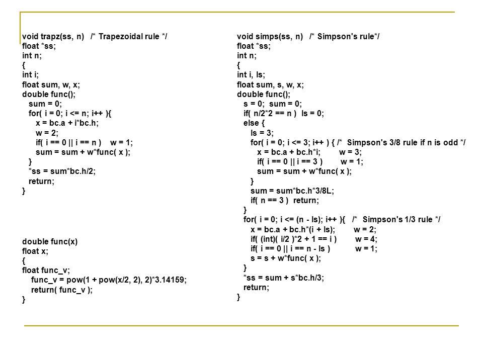void simps(ss, n) /* Simpson's rule*/ float *ss; int n; { int i, ls; float sum, s, w, x; double func(); s = 0; sum = 0; if( n/2*2 == n ) ls = 0; else