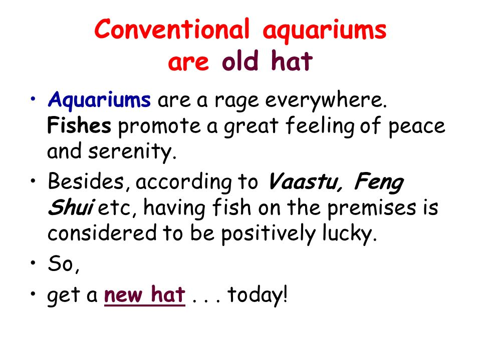 Conventional aquariums are old hat Aquariums are a rage everywhere. Fishes promote a great feeling of peace and serenity. Besides, according to Vaastu
