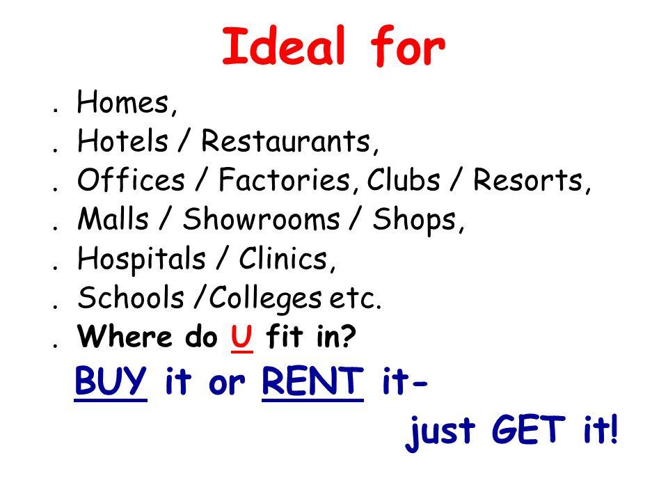Ideal for. Homes,. Hotels / Restaurants,. Offices / Factories, Clubs / Resorts,. Malls / Showrooms / Shops,. Hospitals / Clinics,. Schools /Colleges e