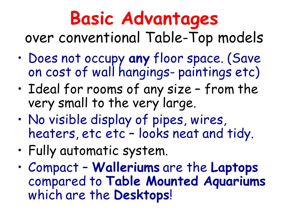 Basic Advantages over conventional Table-Top models Does not occupy any floor space. (Save on cost of wall hangings- paintings etc) Ideal for rooms of
