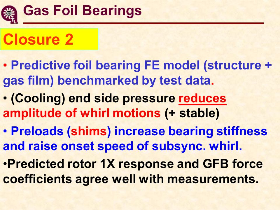 Predictive foil bearing FE model (structure + gas film) benchmarked by test data.