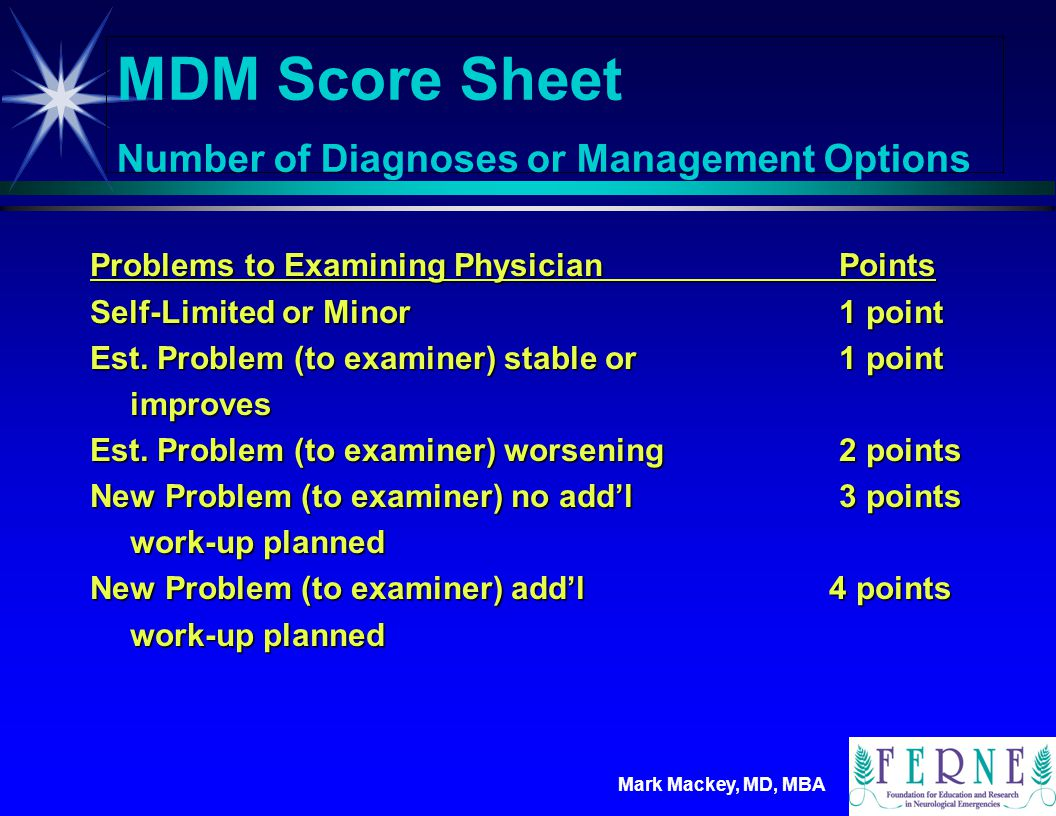 Mark Mackey, MD, MBA MDM Score Sheet Amount &/or Complexity of Data Reviewed Review and/or order of lab tests1 point Review and/or order of radiology tests1 point Review and/or order of other tests1 point (EKG's etc) Discussion of tests w/the performing 1 point physician