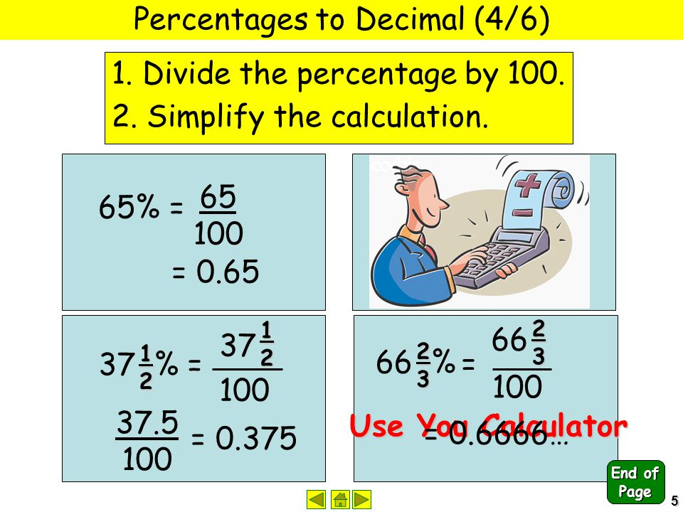 5 Percentages to Decimal (4/6) 1. Divide the percentage by 100. 2. Simplify the calculation. 65% = 65 100 = 0.65 48% = 48 100 = 0.48 37 % = 12 3712 10