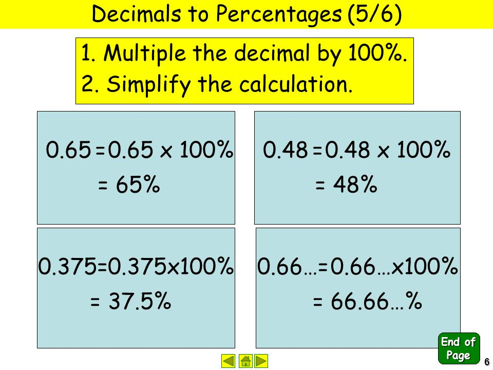 6 Decimals to Percentages (5/6) 1. Multiple the decimal by 100%. 2. Simplify the calculation. 0.65 =0.65 x 100% = 65% 0.48 =0.48 x 100% = 48% 0.375=0.
