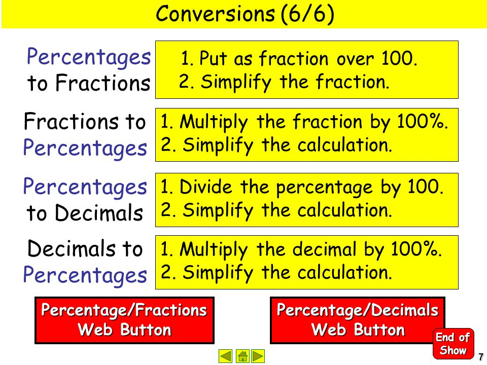 7 Conversions (6/6) 1. Put as fraction over 100. 2. Simplify the fraction. Percentages to Fractions 1. Multiply the fraction by 100%. 2. Simplify the