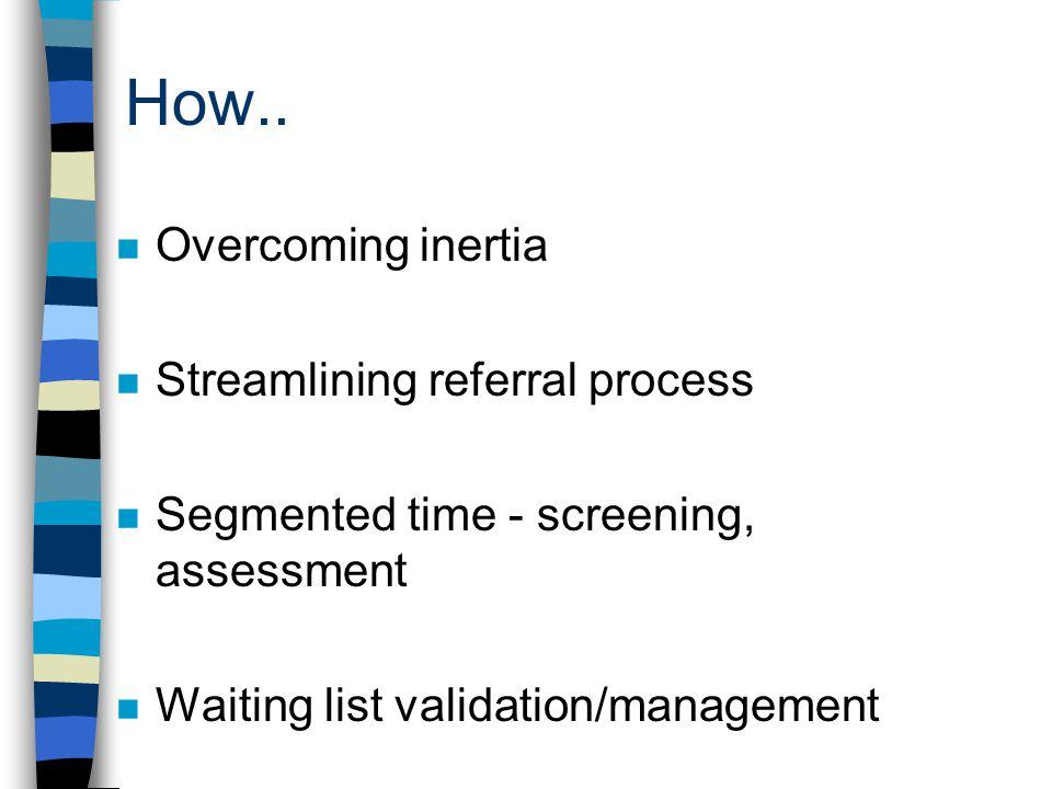 How.. n Overcoming inertia n Streamlining referral process n Segmented time - screening, assessment n Waiting list validation/management